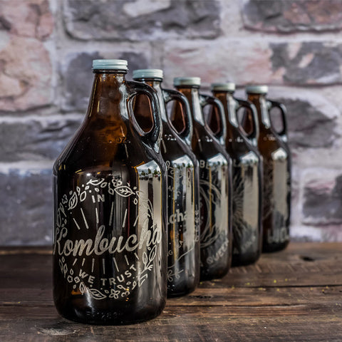 Custom engraved kombucha growler collection