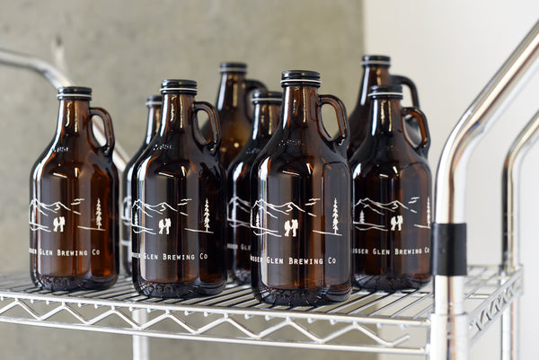 Custom groomsmen growlers with color fill treatment by Sigil and Growler