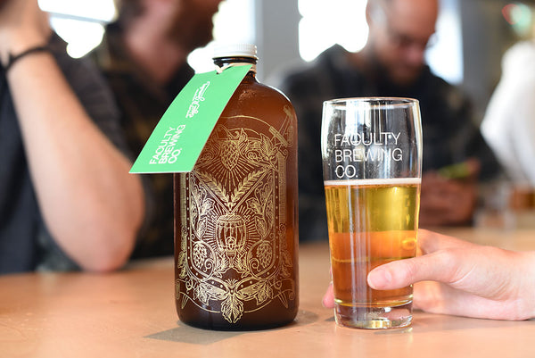 Personalized and engraved boston round growler with gold color fill by Sigil and Growler