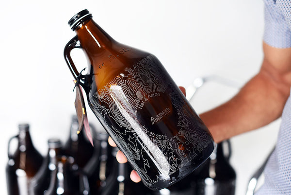 Custom engraved groomsmen gift beer growlers by Sigil and Growler