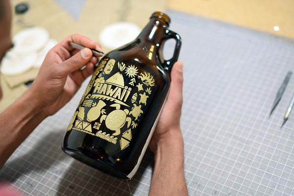 Personalized growler with gold color fill  by Sigil & Growler