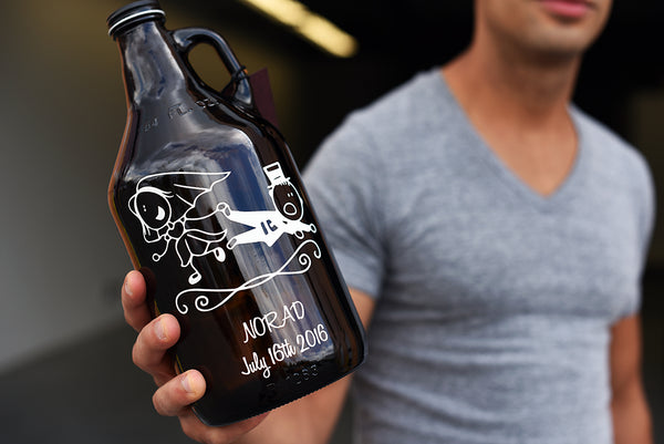 Custom wedding growler