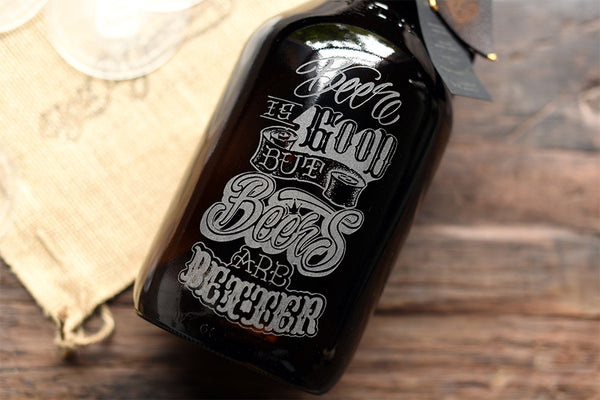 Engraved craft beer growler