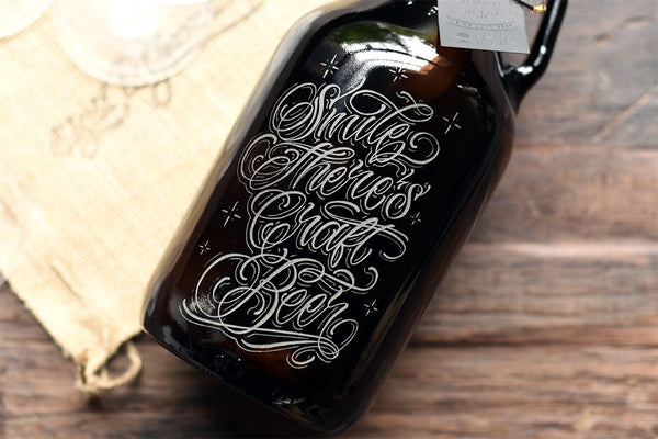 Custom engraved 64 oz craft beer growler
