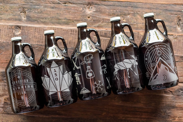 Personalized beer growlers with engraving for Canada Day