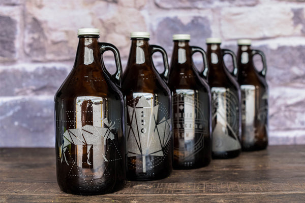 Canada 150 designs on engraved growlers