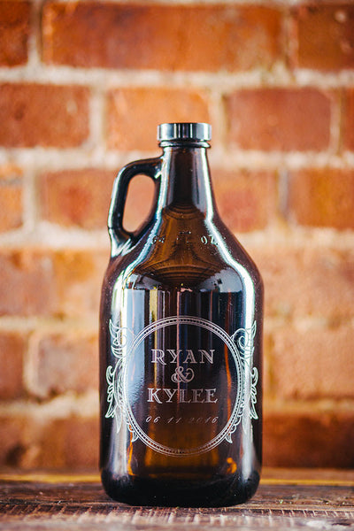 Personalized wedding gift beer growler design