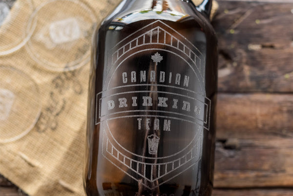 Canadian drinking team engraved beer growler