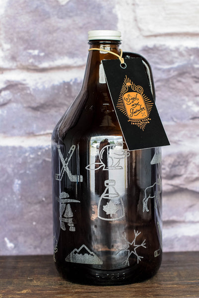 Canada Day beer growler with engraved design