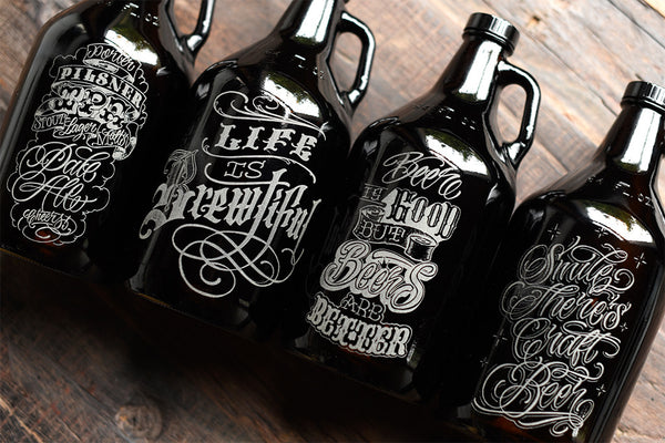 Custom etched craft beer growlers