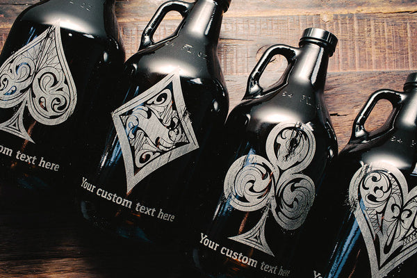 Rustic Royale Poker Suit Engraved growler collection