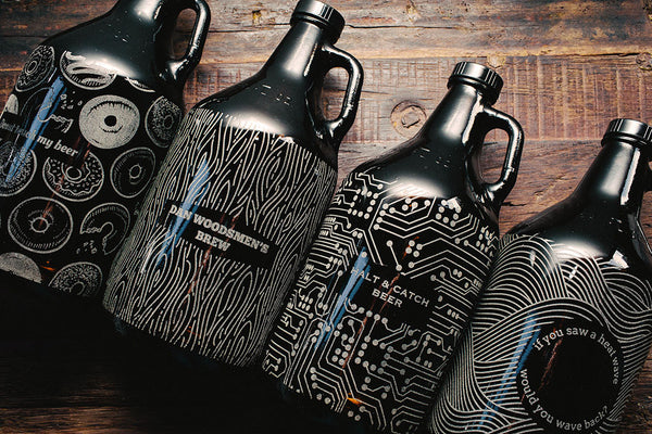 Full pattern engraved beer growler collection