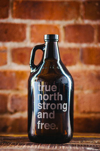 True north strong and free engraved beer growler
