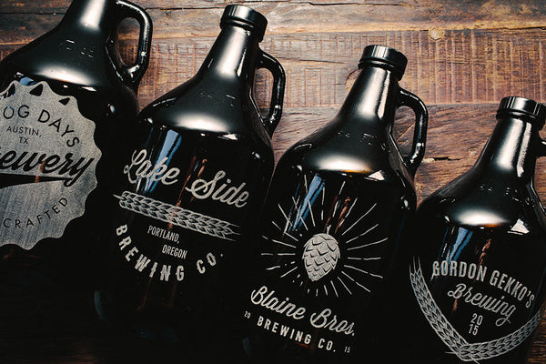 Custom home brew engraved growler collection