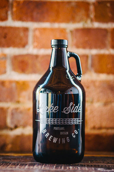 A sheath of wheat home brew engraved growler