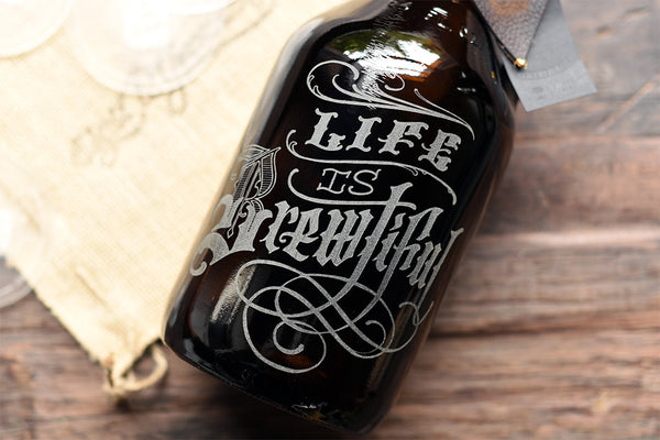 64 oz craft beer etched growlers