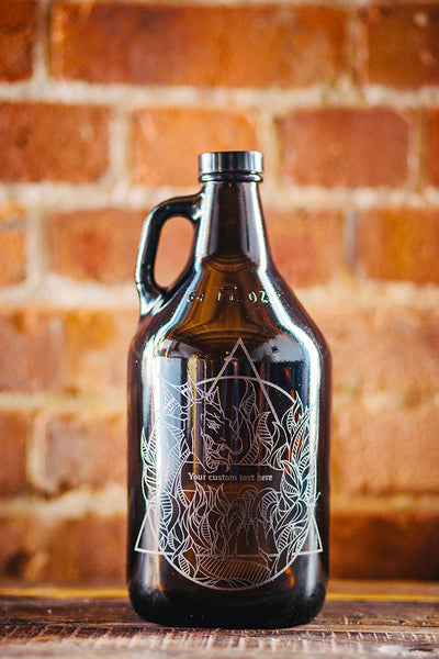 Elements Fire engraved growler design
