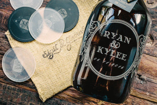 Close up of Personalized wedding gift beer growler design