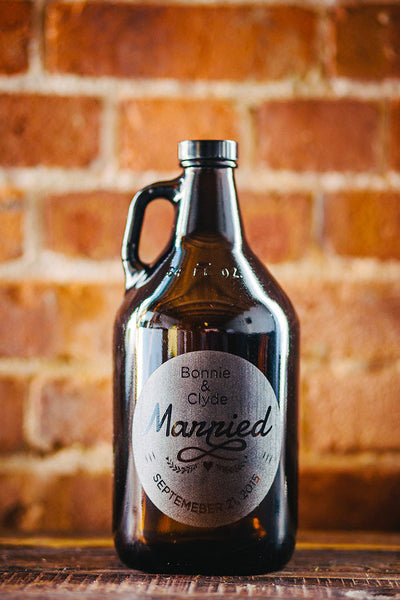 Just Married personalized beer growler design