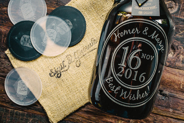 Closeup of custom wedding gift growler design