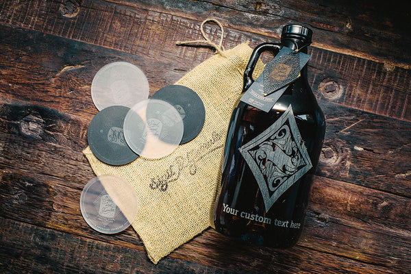 Personalized rustic royal poker suit diamond beer growler
