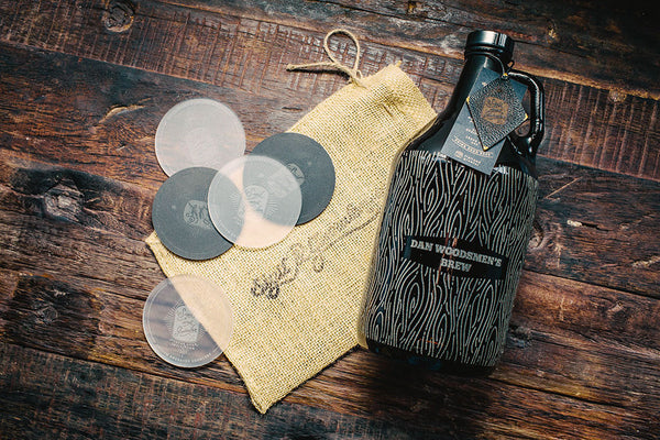 Etched full pattern wood grain beer growler design