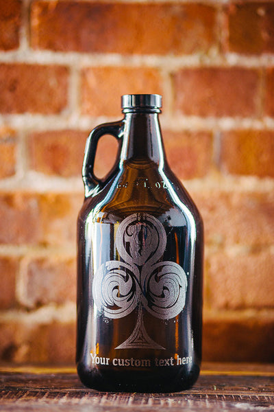 Rustic Royale poker suit personalized beer growler design