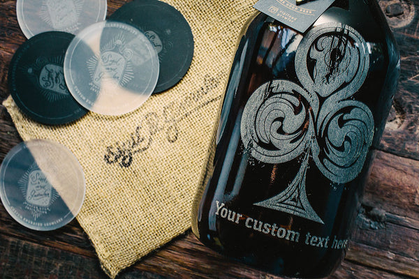 Close up of Rustic Royale poker suit personalized beer growler design