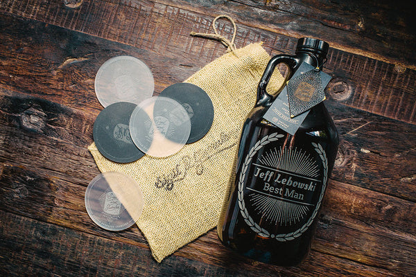 Groomsmen Growler with engraved wheat design