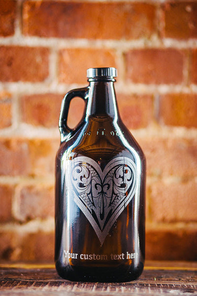 Customizable hearts poker suit beer growler