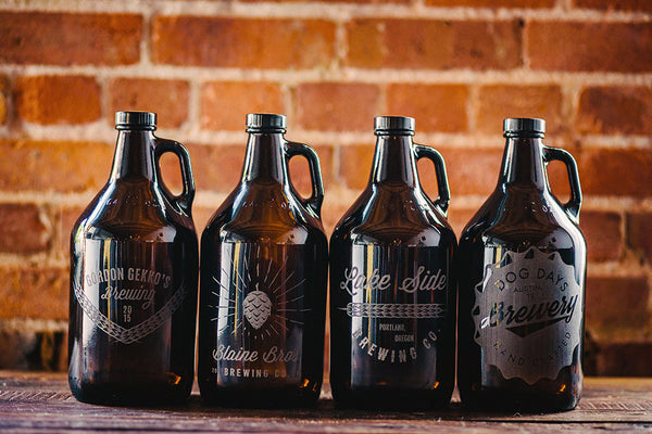Custom engraved home brew growler collection