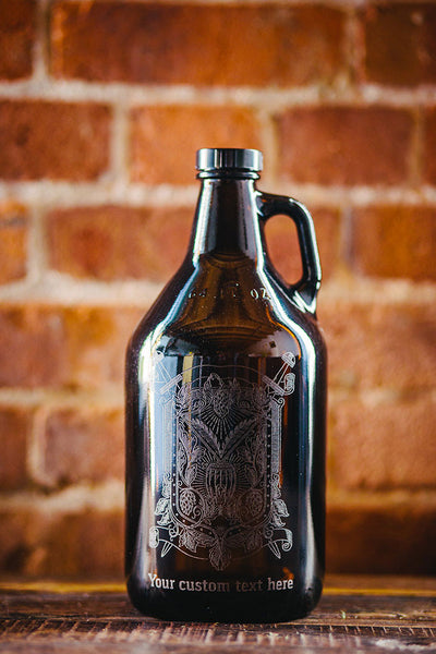 Custom engraved hops and wheat beer growler