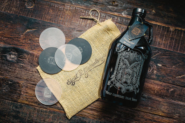 Customizable hops and wheat crest beer growler
