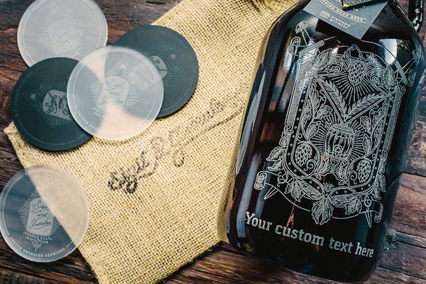 Close up of Custom engraved hops and wheat beer growler