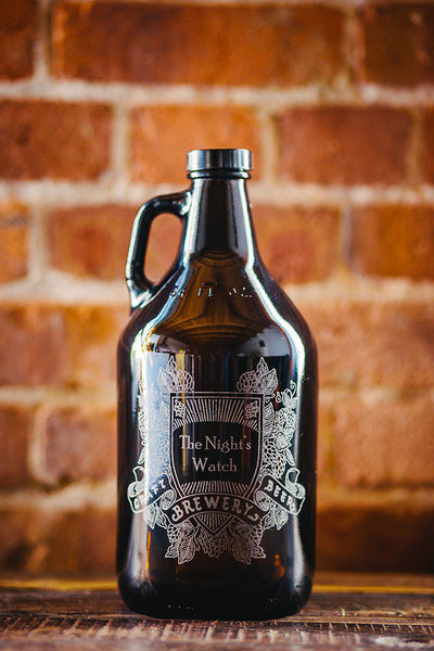 Hops and wheat shield custom growler design