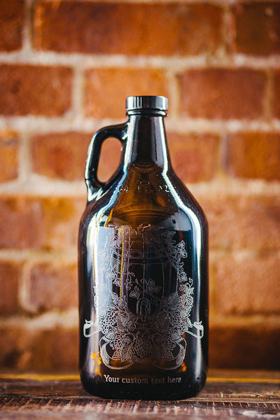 Custom engraved hops and wheat barrel growler design