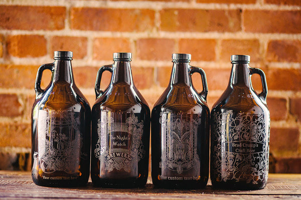 Hops and Wheat engraved growler collection