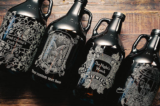 Hops and Wheat engraved beer growler collection