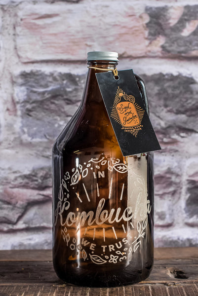 Engraved kombucha growler