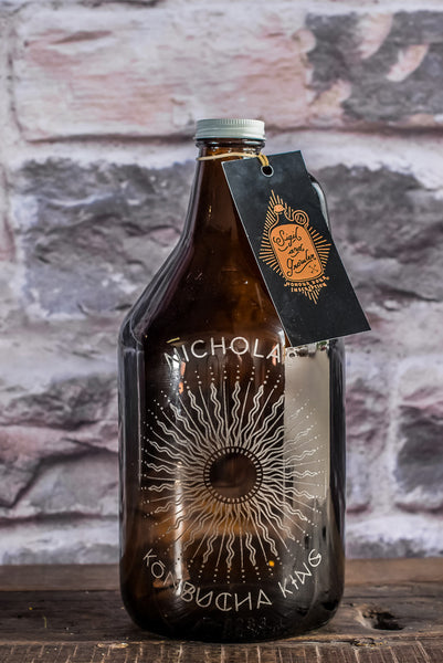 kombucha sun growler engraved design