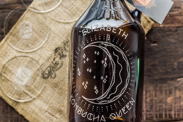 engraved kombucha bottles