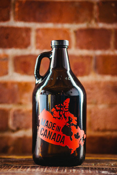 Made in Canada engraved and color filled beer growler