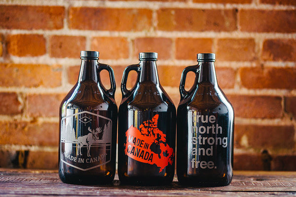 Made in Canada etched beer growler collection