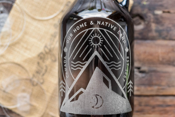 Oh Canada Design etched on beer growler