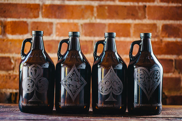 Rustic Royale Poker Suit engraved beer growler collection