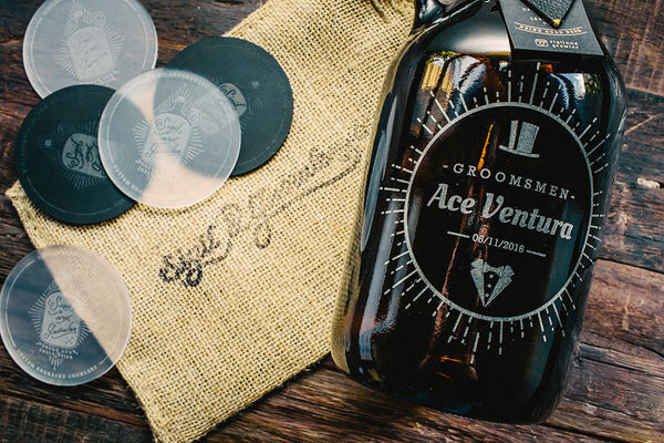 close up of customizable groomsmen growler design