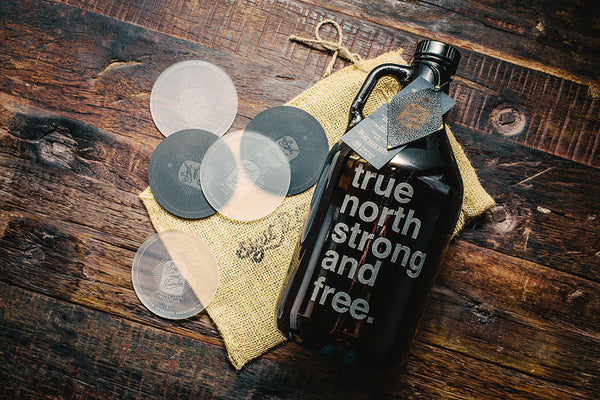 True north strong and free etched beer growler