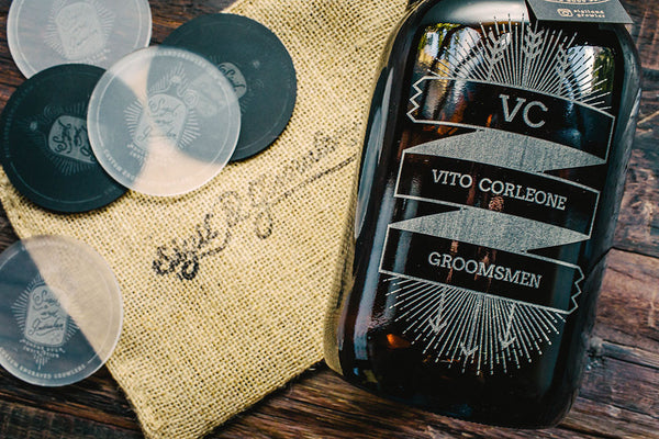 Groomsmen banner design on engraved growler