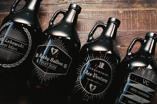Customizable groomsmen growlers that are engraved
