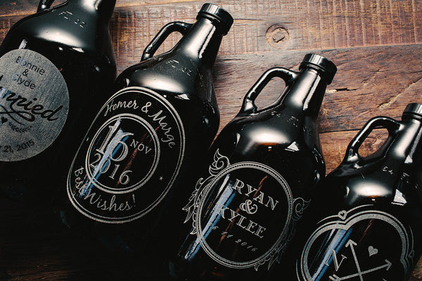 Wedding gift beer growler custom designs